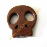 Calavera plana howlita 25x28x4 mm color marron