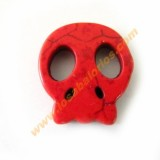 Calavera plana howlita 20x21x4 mm color rojo