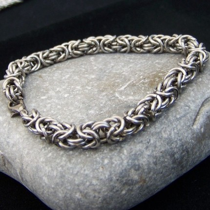 Mens Stainless Steel Byzantine Chainmaille Bracelet1 Jpg